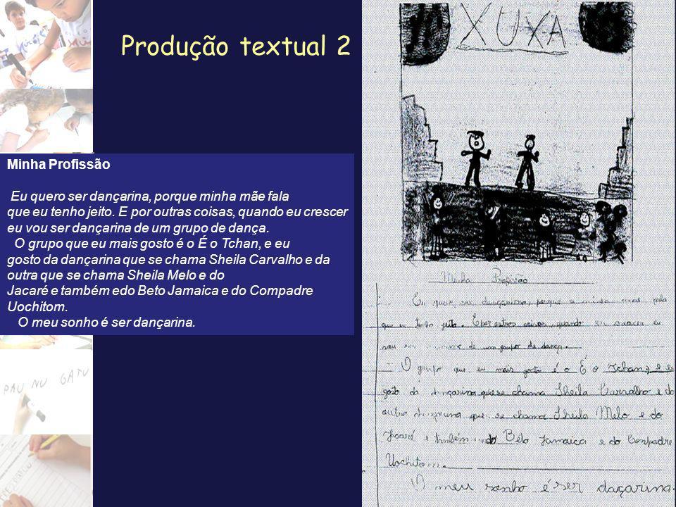 Produção textual 2 Minha Profissão Eu quero ser dançarina, porque minha mãe fala que eu tenho jeito. E por outras coisas, quando eu crescer eu vou ser