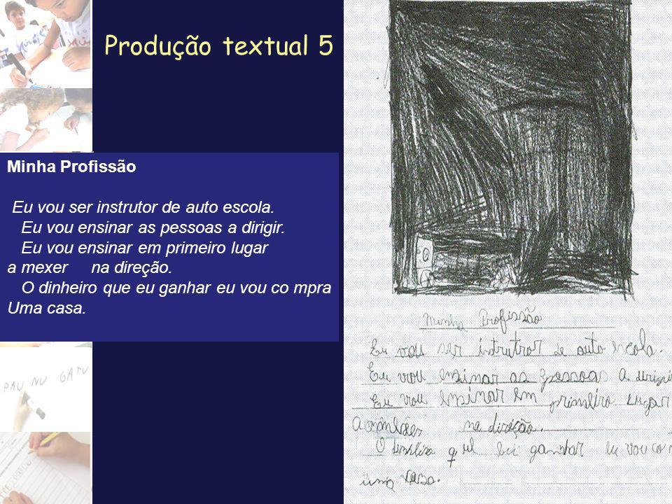 Produção textual 5 Minha Profissão Eu vou ser instrutor de auto escola. Eu vou ensinar as pessoas a dirigir. Eu vou ensinar em primeiro lugar a mexer