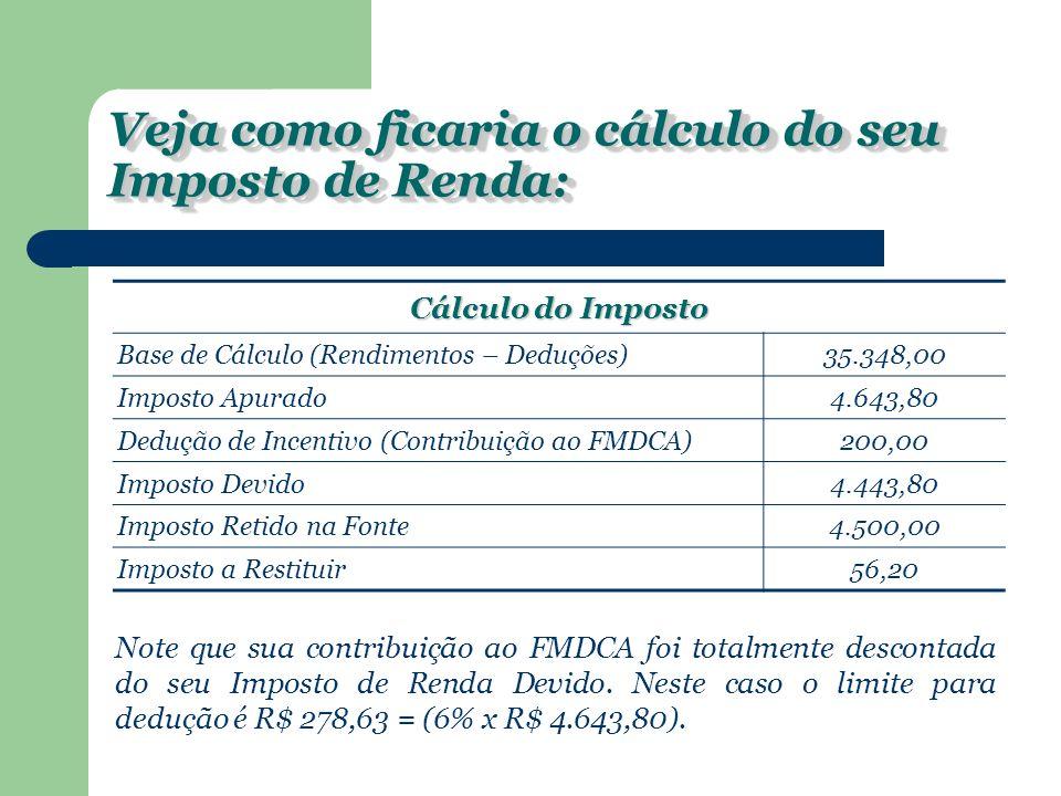 Veja como ficaria o cálculo do seu Imposto de Renda: Cálculo do Imposto Base de Cálculo (Rendimentos – Deduções)35.348,00 Imposto Apurado4.643,80 Dedução de Incentivo (Contribuição ao FMDCA)200,00 Imposto Devido4.443,80 Imposto Retido na Fonte4.500,00 Imposto a Restituir56,20 Note que sua contribuição ao FMDCA foi totalmente descontada do seu Imposto de Renda Devido.