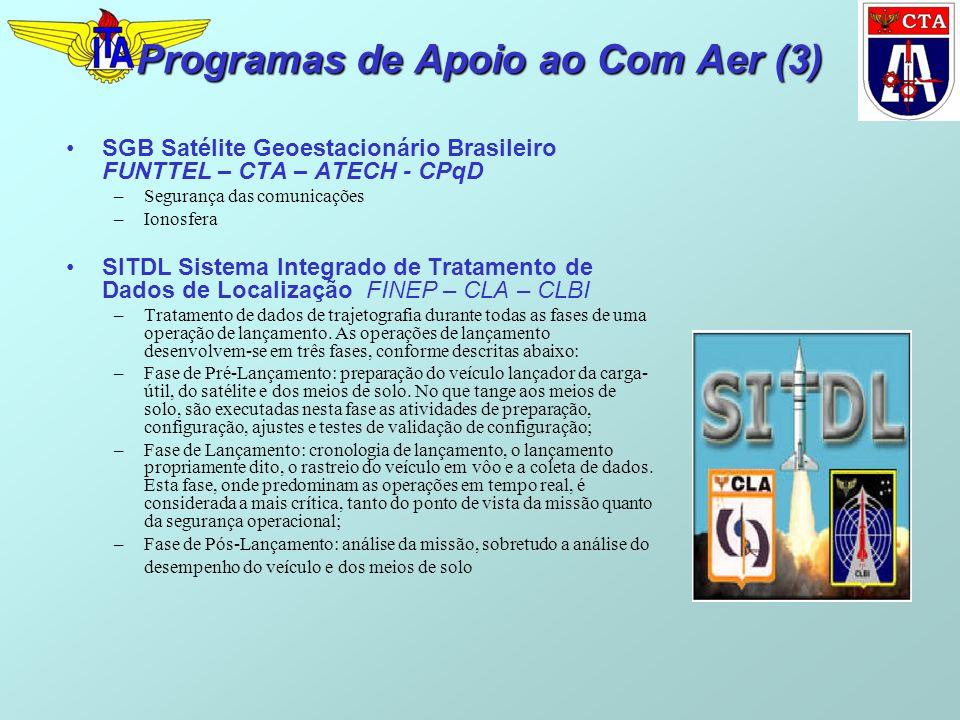 Programas de Apoio ao Com Aer (3) SGB Satélite Geoestacionário Brasileiro FUNTTEL – CTA – ATECH - CPqD –Segurança das comunicações –Ionosfera SITDL Sistema Integrado de Tratamento de Dados de Localização FINEP – CLA – CLBI –Tratamento de dados de trajetografia durante todas as fases de uma operação de lançamento.