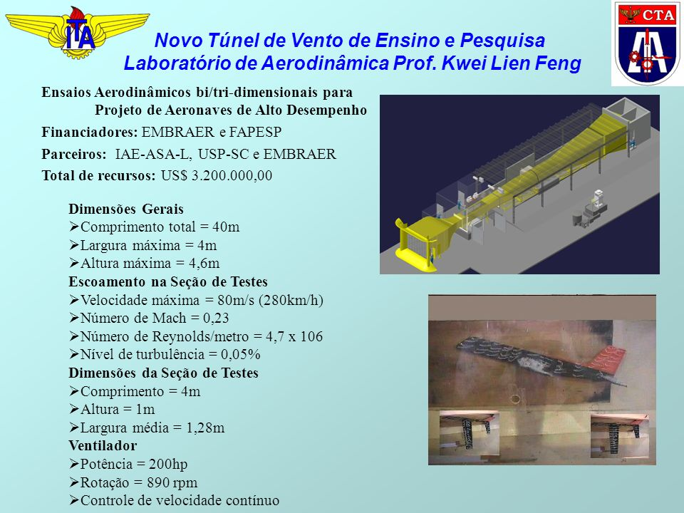 Dimensões Gerais Comprimento total = 40m Largura máxima = 4m Altura máxima = 4,6m Escoamento na Seção de Testes Velocidade máxima = 80m/s (280km/h) Número de Mach = 0,23 Número de Reynolds/metro = 4,7 x 106 Nível de turbulência = 0,05% Dimensões da Seção de Testes Comprimento = 4m Altura = 1m Largura média = 1,28m Ventilador Potência = 200hp Rotação = 890 rpm Controle de velocidade contínuo Novo Túnel de Vento de Ensino e Pesquisa Laboratório de Aerodinâmica Prof.