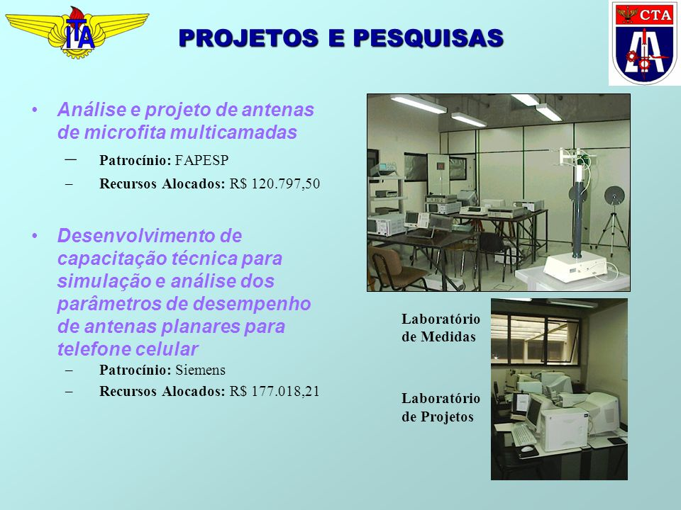 PROJETOS E PESQUISAS Análise e projeto de antenas de microfita multicamadas – Patrocínio: FAPESP –Recursos Alocados: R$ 120.797,50 Desenvolvimento de capacitação técnica para simulação e análise dos parâmetros de desempenho de antenas planares para telefone celular –Patrocínio: Siemens –Recursos Alocados: R$ 177.018,21 Laboratório de Medidas Laboratório de Projetos
