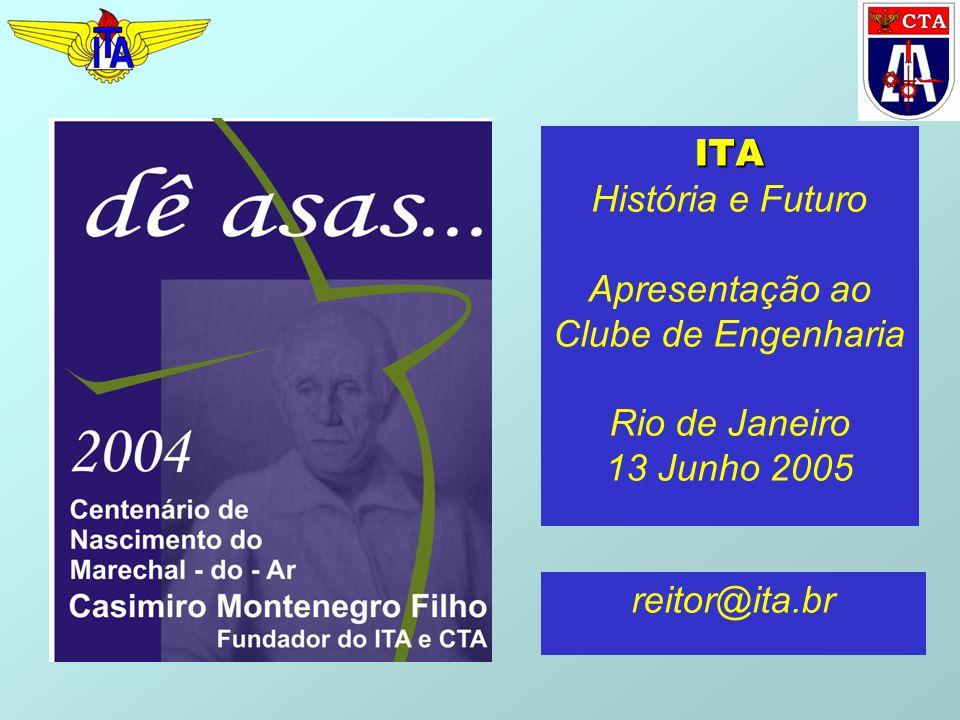 ITA ITA História e Futuro Apresentação ao Clube de Engenharia Rio de Janeiro 13 Junho 2005 reitor@ita.br