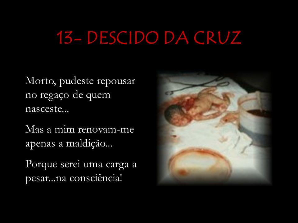 13- DESCIDO DA CRUZ Morto, pudeste repousar no regaço de quem nasceste...