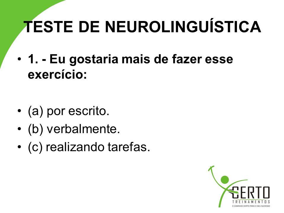 TESTE DE NEUROLINGUÍSTICA 12.