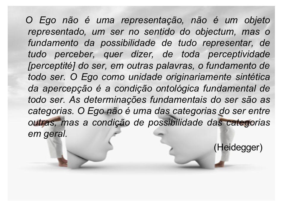 O Ego não é uma representação, não é um objeto representado, um ser no sentido do objectum, mas o fundamento da possibilidade de tudo representar, de