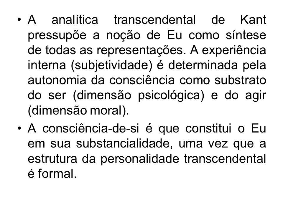 A analítica transcendental de Kant pressupõe a noção de Eu como síntese de todas as representações. A experiência interna (subjetividade) é determinad