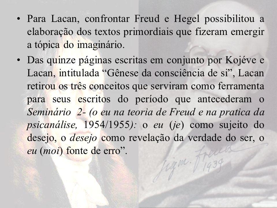 Para Lacan, confrontar Freud e Hegel possibilitou a elaboração dos textos primordiais que fizeram emergir a tópica do imaginário. Das quinze páginas e