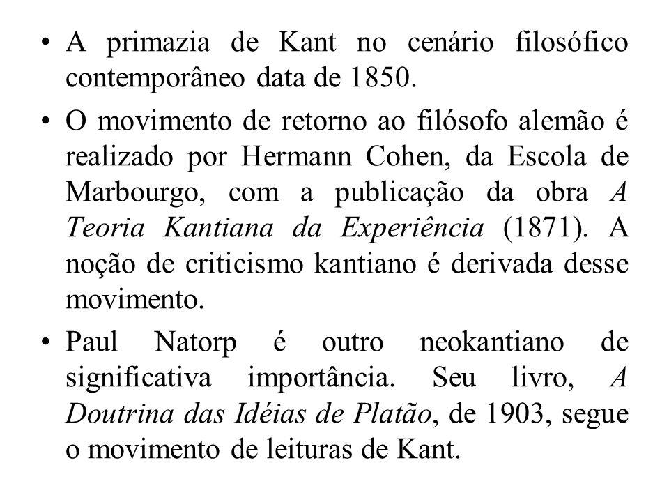 A primazia de Kant no cenário filosófico contemporâneo data de 1850. O movimento de retorno ao filósofo alemão é realizado por Hermann Cohen, da Escol