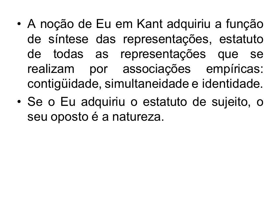 A noção de Eu em Kant adquiriu a função de síntese das representações, estatuto de todas as representações que se realizam por associações empíricas:
