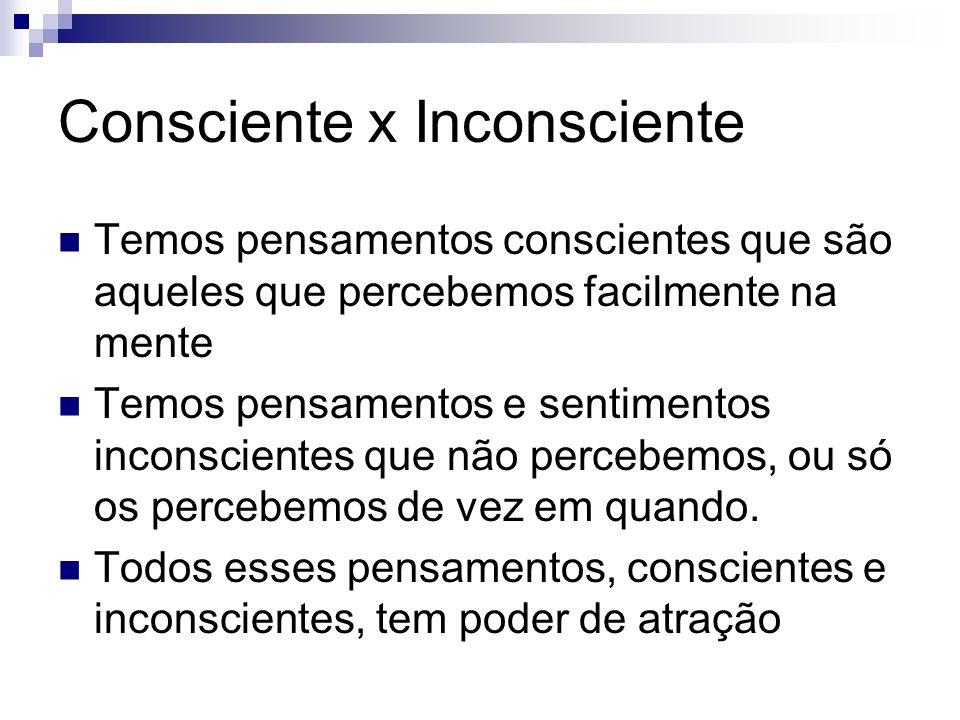 Consciente x Inconsciente Temos pensamentos conscientes que são aqueles que percebemos facilmente na mente Temos pensamentos e sentimentos inconscient