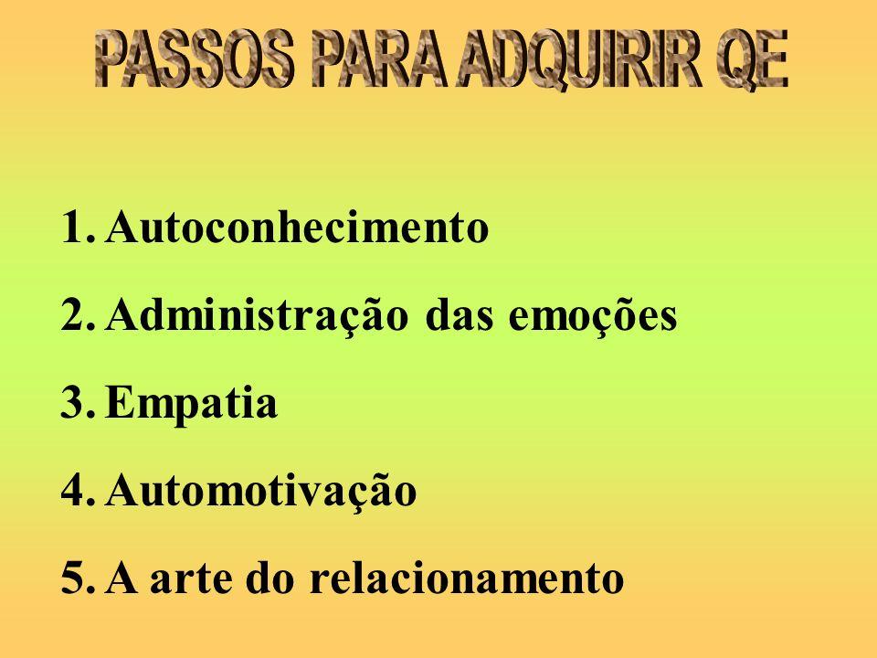 1.Autoconhecimento 2.Administração das emoções 3.Empatia 4.Automotivação 5.A arte do relacionamento