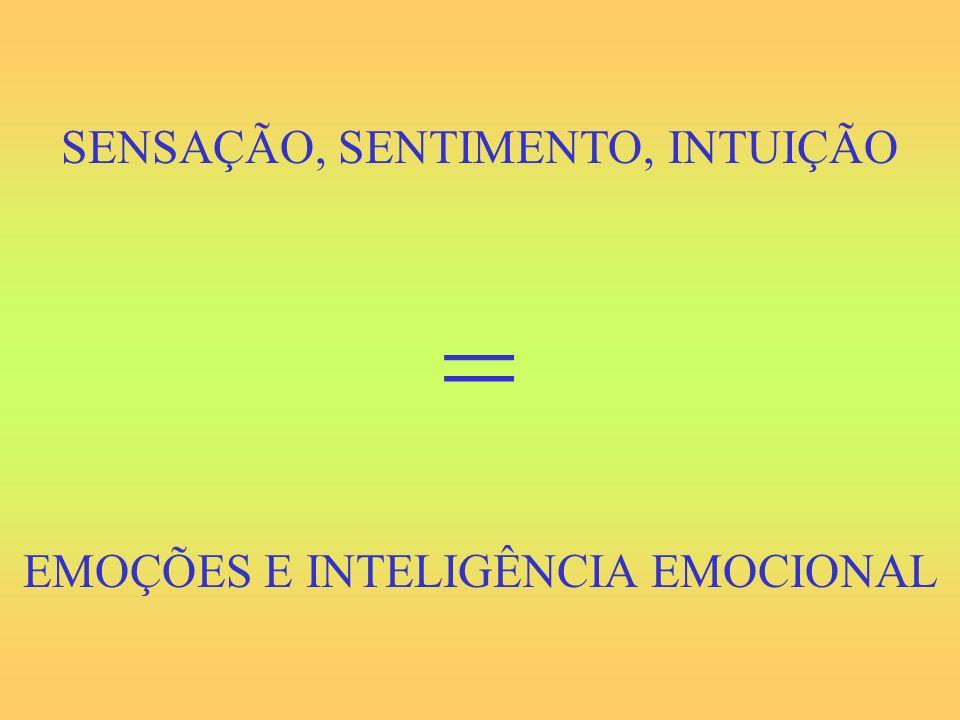 SENSAÇÃO, SENTIMENTO, INTUIÇÃO = EMOÇÕES E INTELIGÊNCIA EMOCIONAL