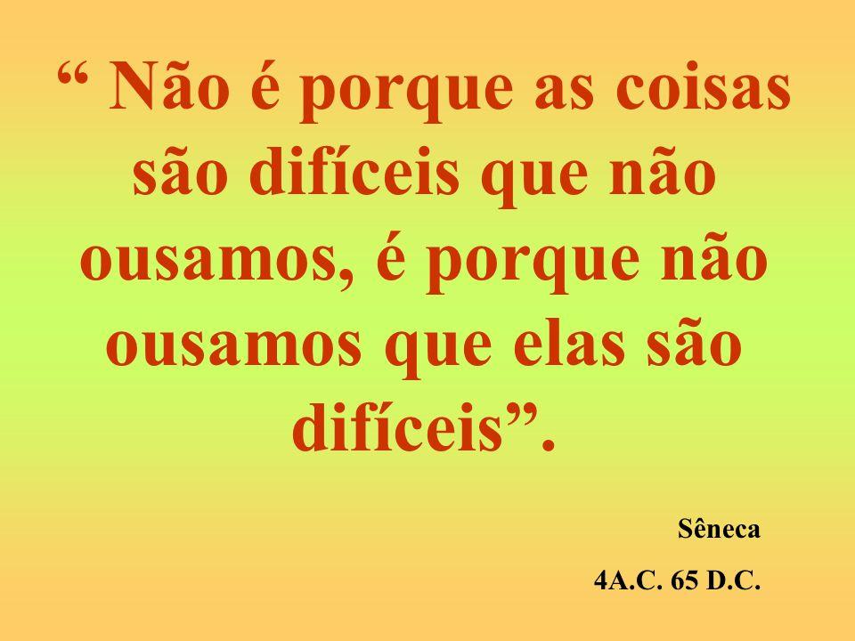 Não é porque as coisas são difíceis que não ousamos, é porque não ousamos que elas são difíceis. Sêneca 4A.C. 65 D.C.