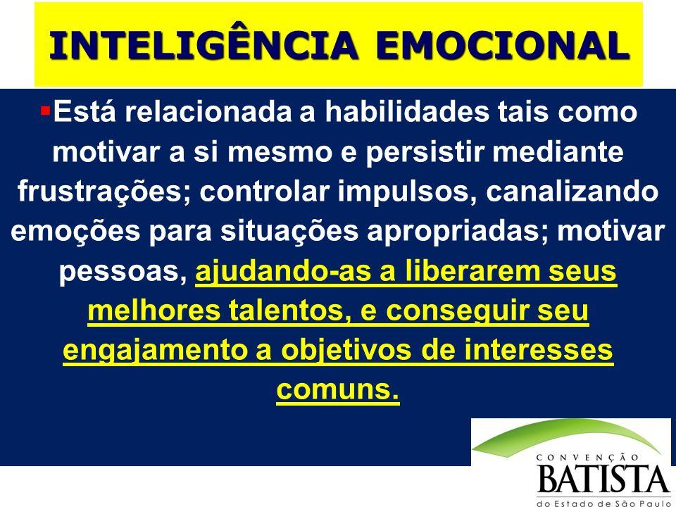 INTELIGÊNCIA EMOCIONAL Está relacionada a habilidades tais como motivar a si mesmo e persistir mediante frustrações; controlar impulsos, canalizando e