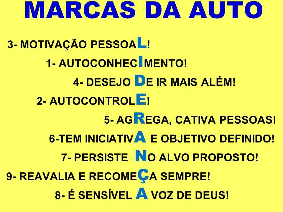 MARCAS DA AUTO 3- MOTIVAÇÃO PESSOA L ! 1- AUTOCONHEC I MENTO! 4- DESEJO D E IR MAIS ALÉM! 2- AUTOCONTROL E ! 5- AG R EGA, CATIVA PESSOAS! 6-TEM INICIA
