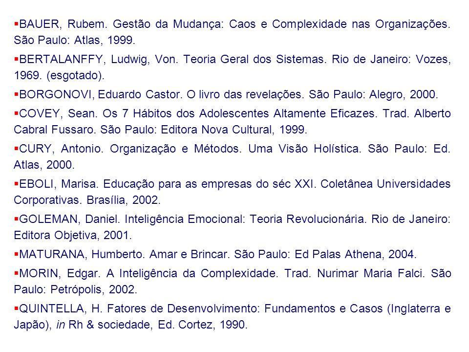 BAUER, Rubem. Gestão da Mudança: Caos e Complexidade nas Organizações. São Paulo: Atlas, 1999. BERTALANFFY, Ludwig, Von. Teoria Geral dos Sistemas. Ri