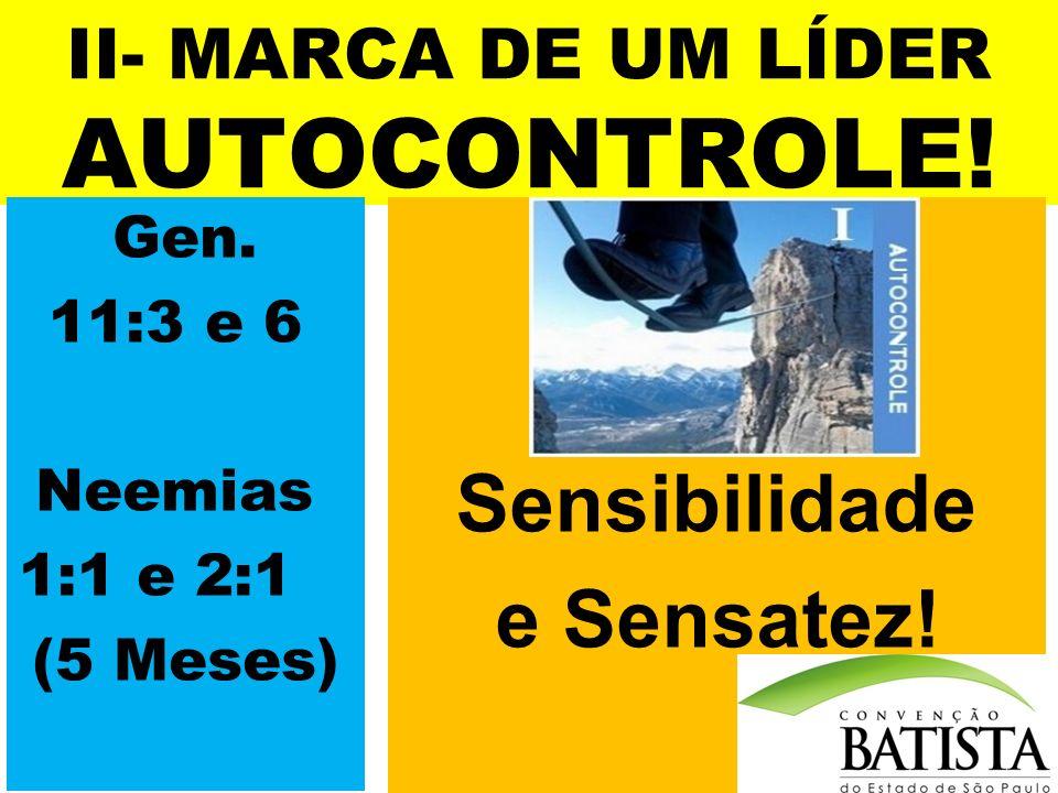 II- MARCA DE UM LÍDER AUTOCONTROLE! Sensibilidade e Sensatez! Gen. 11:3 e 6 Neemias 1:1 e 2:1 (5 Meses)
