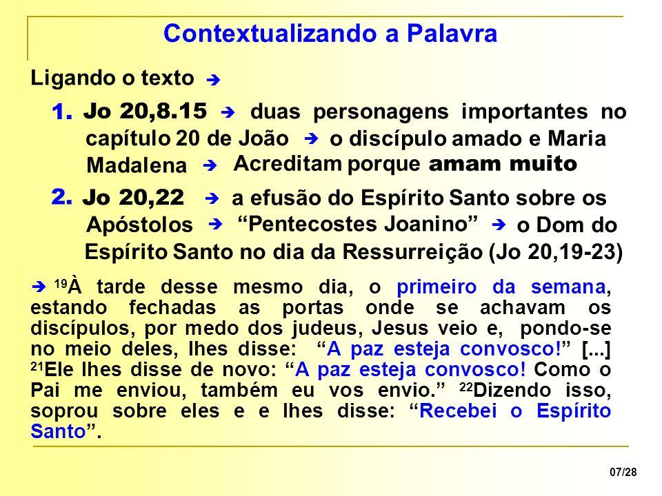 não foi escrever uma crônica histórica 08/28 Objetivo do evangelista mas uma catequese sobre o Mistério Pascal e a Igreja indicando a prática cristã de celebrar a Eucaristia no Dia do Senhor a Celebração Eucarística + o Evangelho a profissão de fé