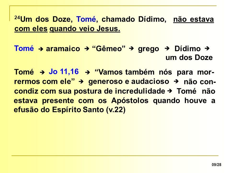 comunidade é o lugar de confessar, professar e fortalecer, ou aumentar a nossa fé v.22: Efusão do Espírito Santo Tomé estava fora da comunidade.