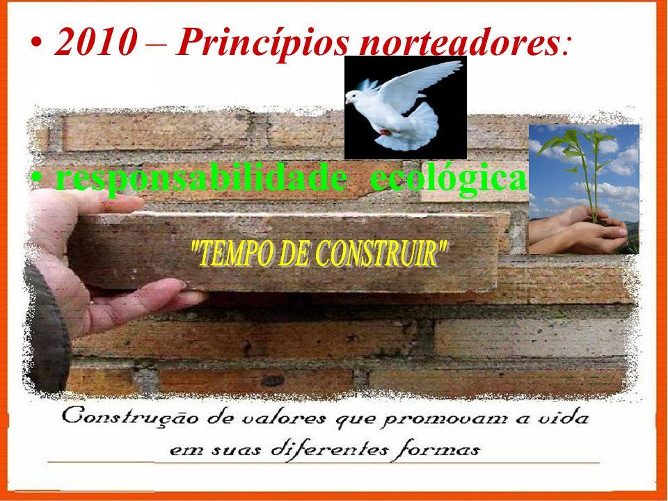 2010 – Princípios norteadores: a cultura da paz responsabilidade ecológica.
