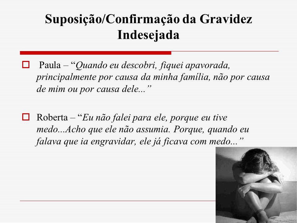 Suposição/Confirmação da Gravidez Indesejada Paula – Quando eu descobri, fiquei apavorada, principalmente por causa da minha família, não por causa de mim ou por causa dele...