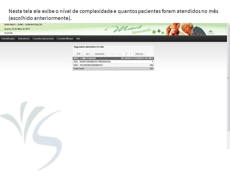 Nesta tela ele exibe o nível de complexidade e quantos pacientes foram atendidos no mês (escolhido anteriormente).