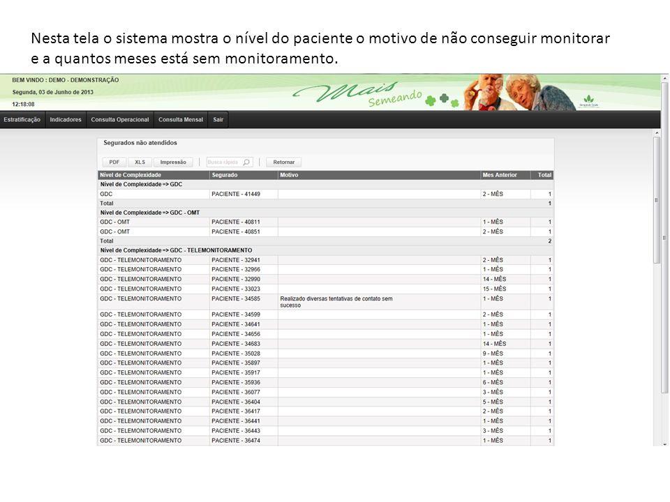 Nesta tela o sistema mostra o nível do paciente o motivo de não conseguir monitorar e a quantos meses está sem monitoramento.
