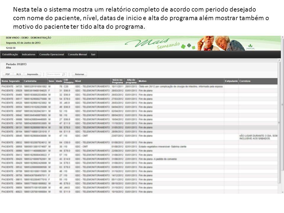 Nesta tela o sistema mostra um relatório completo de acordo com periodo desejado com nome do paciente, nível, datas de inicio e alta do programa além