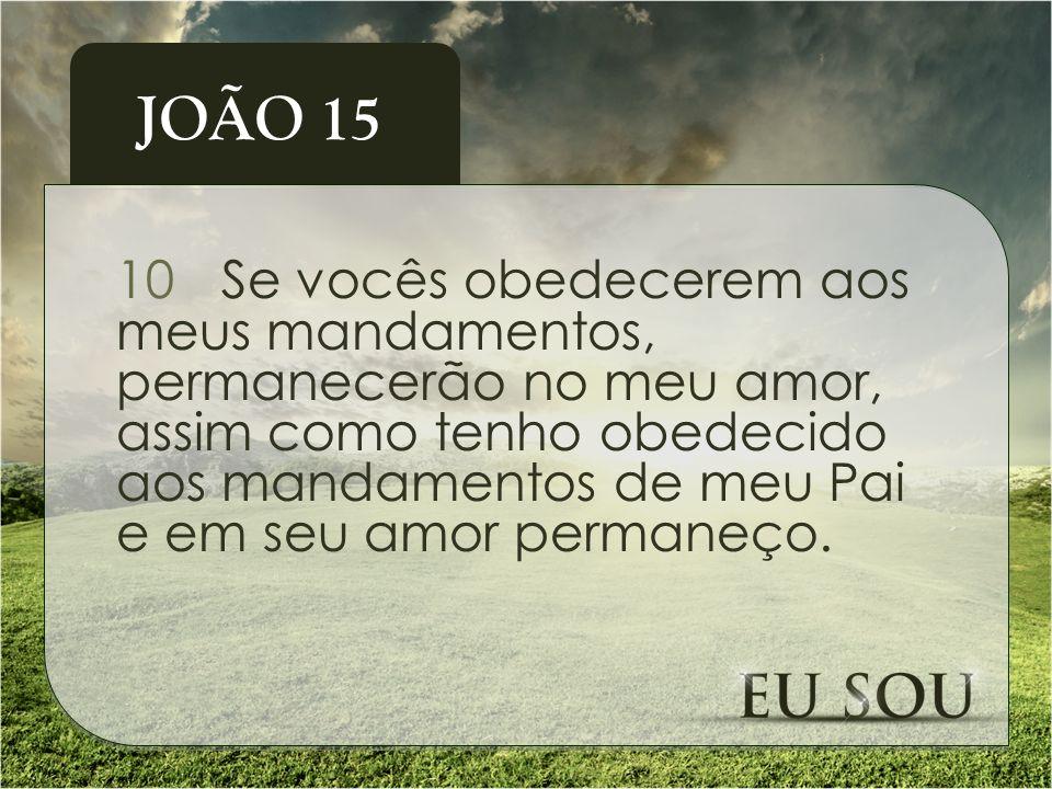 10Se vocês obedecerem aos meus mandamentos, permanecerão no meu amor, assim como tenho obedecido aos mandamentos de meu Pai e em seu amor permaneço. J