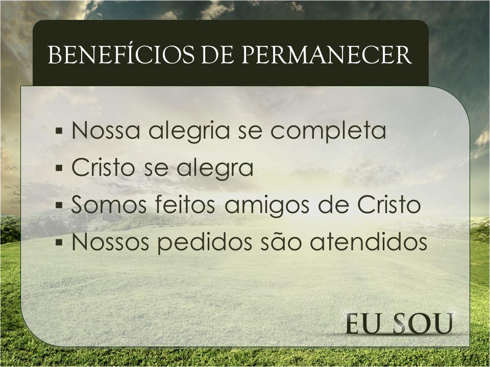 Nossa alegria se completa Cristo se alegra Somos feitos amigos de Cristo Nossos pedidos são atendidos BENEFÍCIOS DE PERMANECER