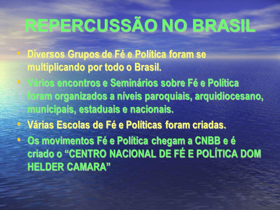 REPERCUSSÃO NO BRASIL Diversos Grupos de Fé e Política foram se multiplicando por todo o Brasil.