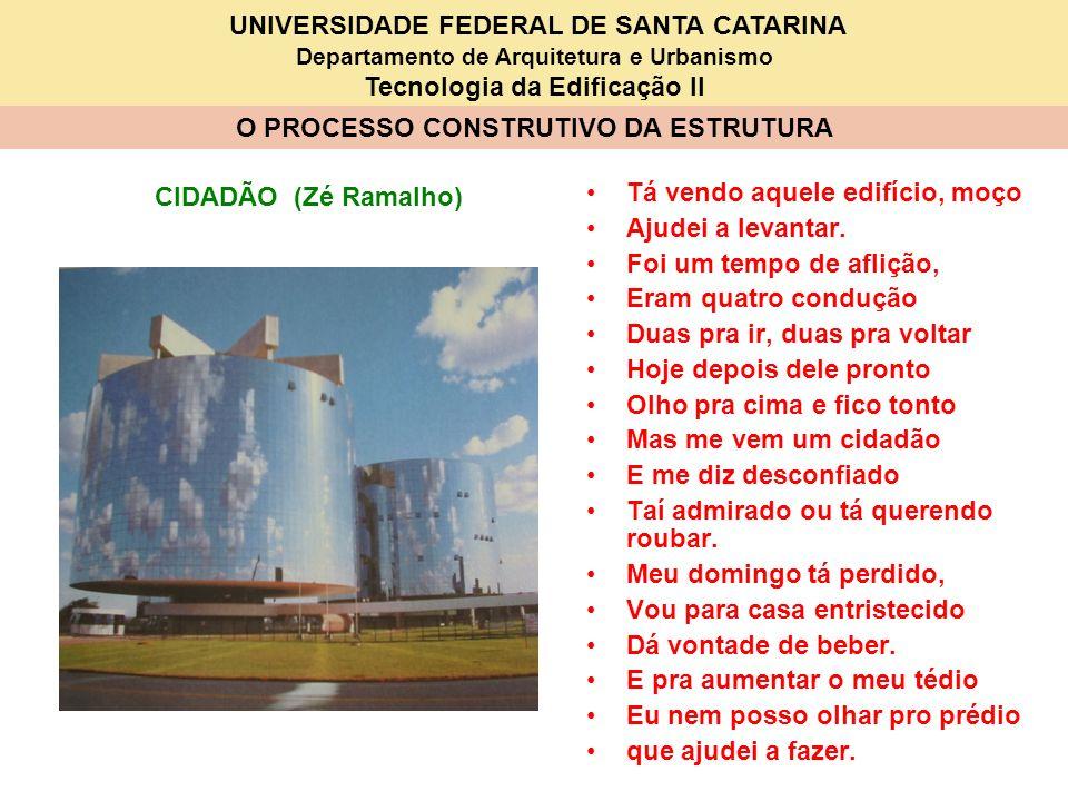 UNIVERSIDADE FEDERAL DE SANTA CATARINA Departamento de Arquitetura e Urbanismo Tecnologia da Edificação II O PROCESSO CONSTRUTIVO DA ESTRUTURA Tá vend