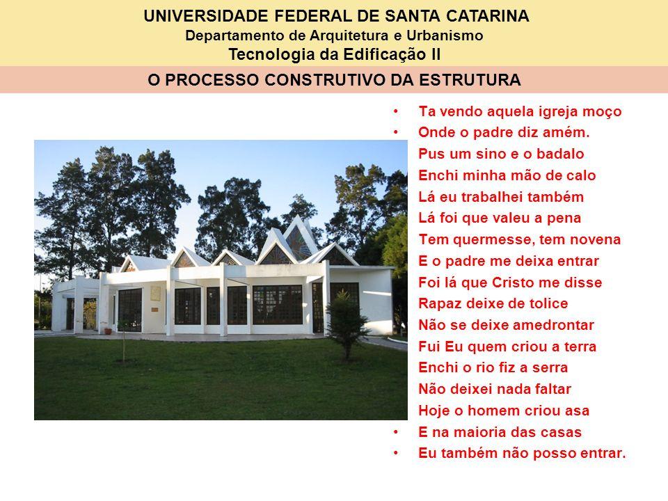 UNIVERSIDADE FEDERAL DE SANTA CATARINA Departamento de Arquitetura e Urbanismo Tecnologia da Edificação II O PROCESSO CONSTRUTIVO DA ESTRUTURA Ta vend