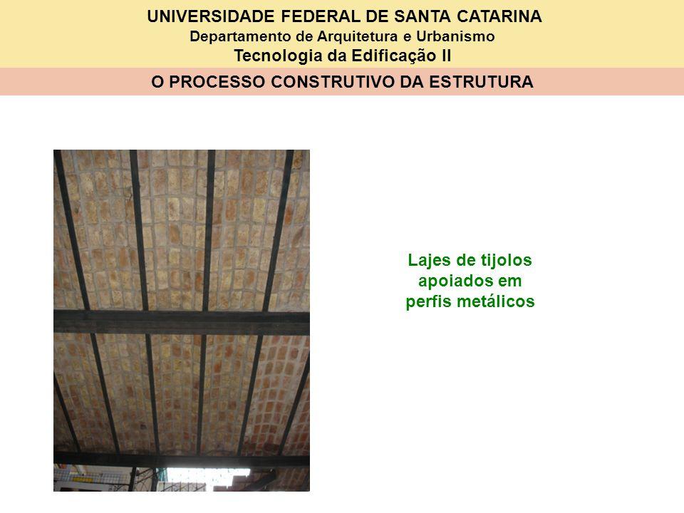 UNIVERSIDADE FEDERAL DE SANTA CATARINA Departamento de Arquitetura e Urbanismo Tecnologia da Edificação II O PROCESSO CONSTRUTIVO DA ESTRUTURA Lajes d