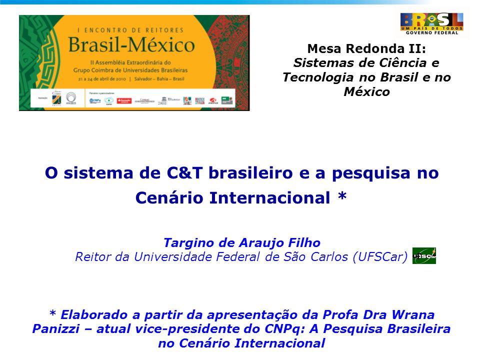 Mesa Redonda II: Sistemas de Ciência e Tecnologia no Brasil e no México O sistema de C&T brasileiro e a pesquisa no Cenário Internacional * Targino de