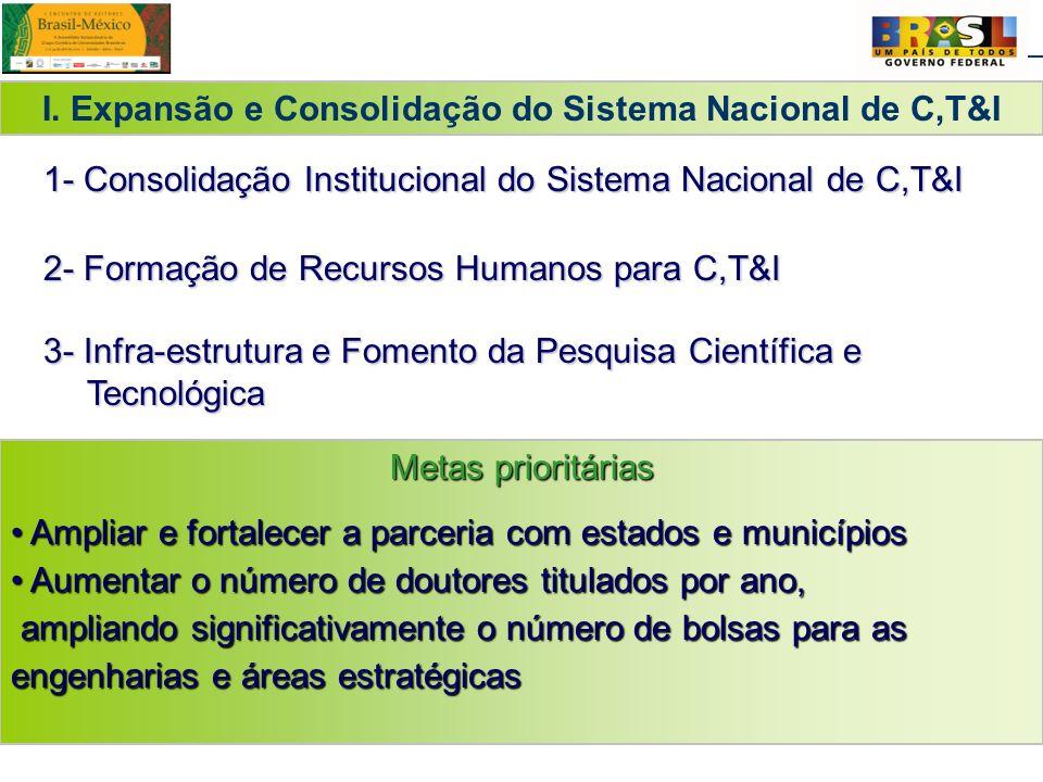 13 I. Expansão e Consolidação do Sistema Nacional de C,T&I Metas prioritárias Ampliar e fortalecer a parceria com estados e municípios Ampliar e forta