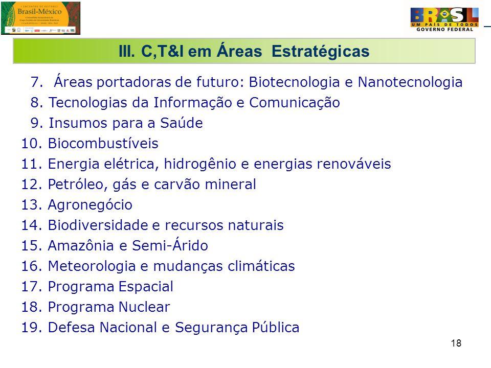 18 III. C,T&I em Áreas Estratégicas 7. Áreas portadoras de futuro: Biotecnologia e Nanotecnologia 8. Tecnologias da Informação e Comunicação 9. Insumo