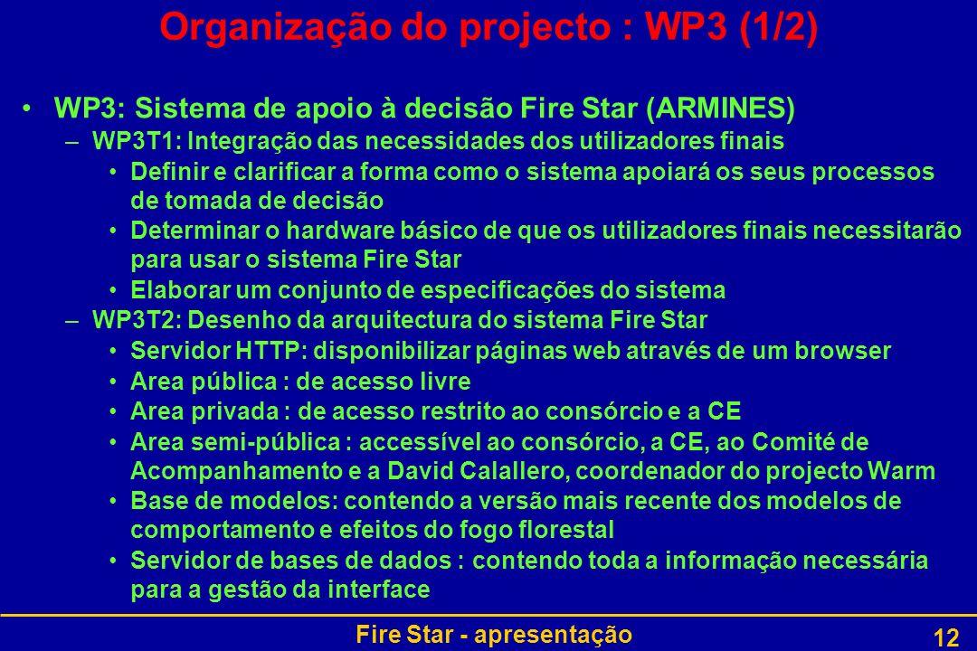 Fire Star - apresentação 12 Organização do projecto : WP3 (1/2) WP3: Sistema de apoio à decisão Fire Star (ARMINES) –WP3T1: Integração das necessidade