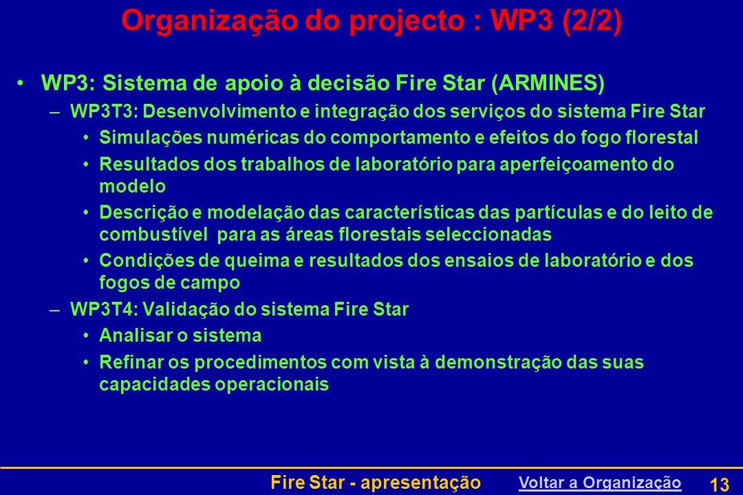 Fire Star - apresentação 13 Organização do projecto : WP3 (2/2) WP3: Sistema de apoio à decisão Fire Star (ARMINES) –WP3T3: Desenvolvimento e integraç