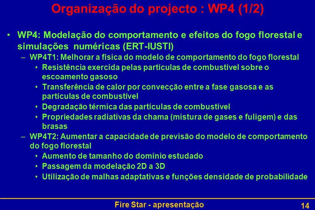 Fire Star - apresentação 14 Organização do projecto : WP4 (1/2) WP4: Modelação do comportamento e efeitos do fogo florestal e simulações numéricas (ER