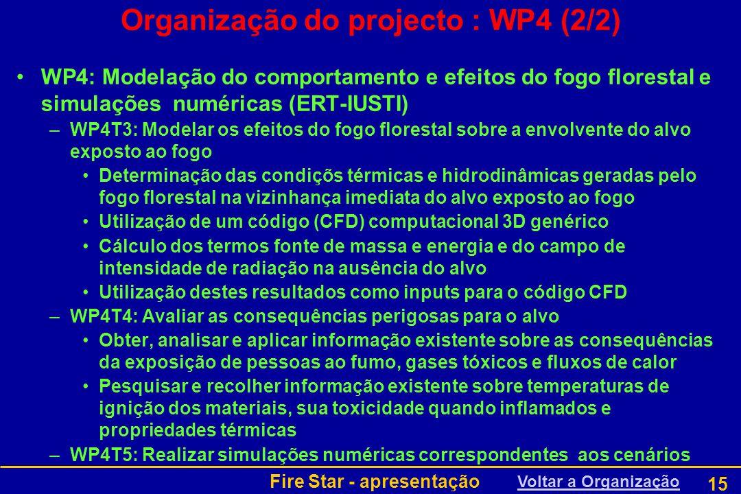 Fire Star - apresentação 15 Organização do projecto : WP4 (2/2) WP4: Modelação do comportamento e efeitos do fogo florestal e simulações numéricas (ER