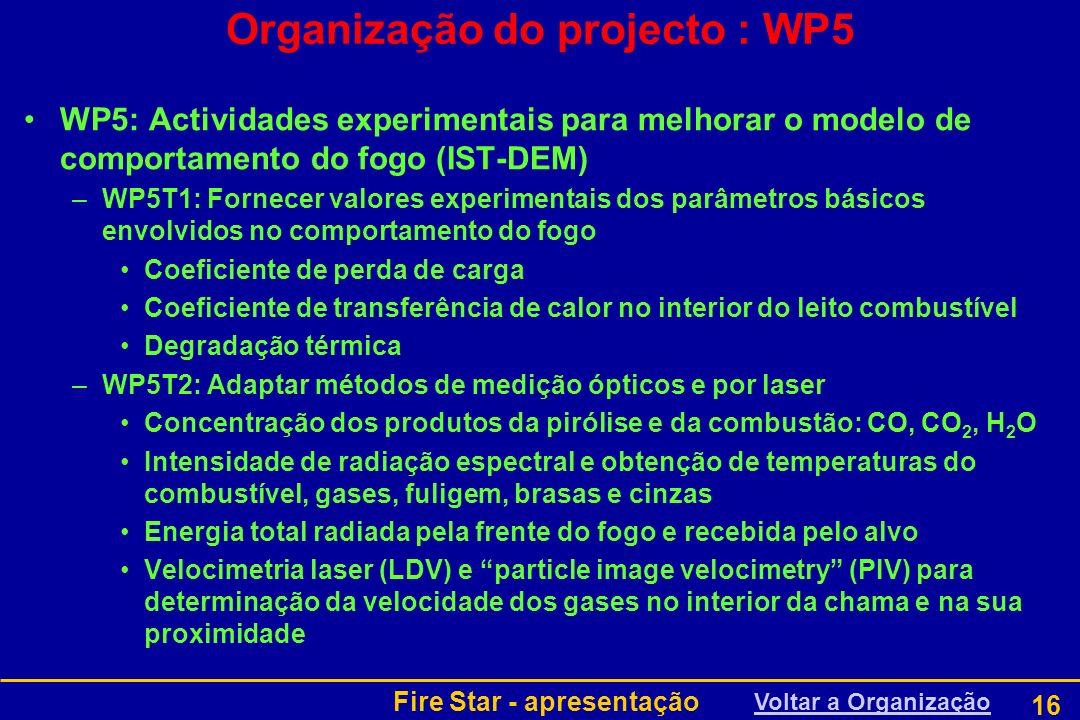 Fire Star - apresentação 16 Organização do projecto : WP5 WP5: Actividades experimentais para melhorar o modelo de comportamento do fogo (IST-DEM) –WP