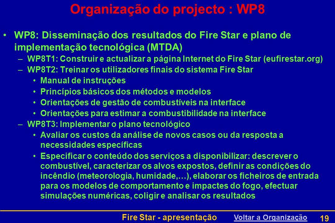 Fire Star - apresentação 19 WP8: Disseminação dos resultados do Fire Star e plano de implementação tecnológica (MTDA) –WP8T1: Construir e actualizar a