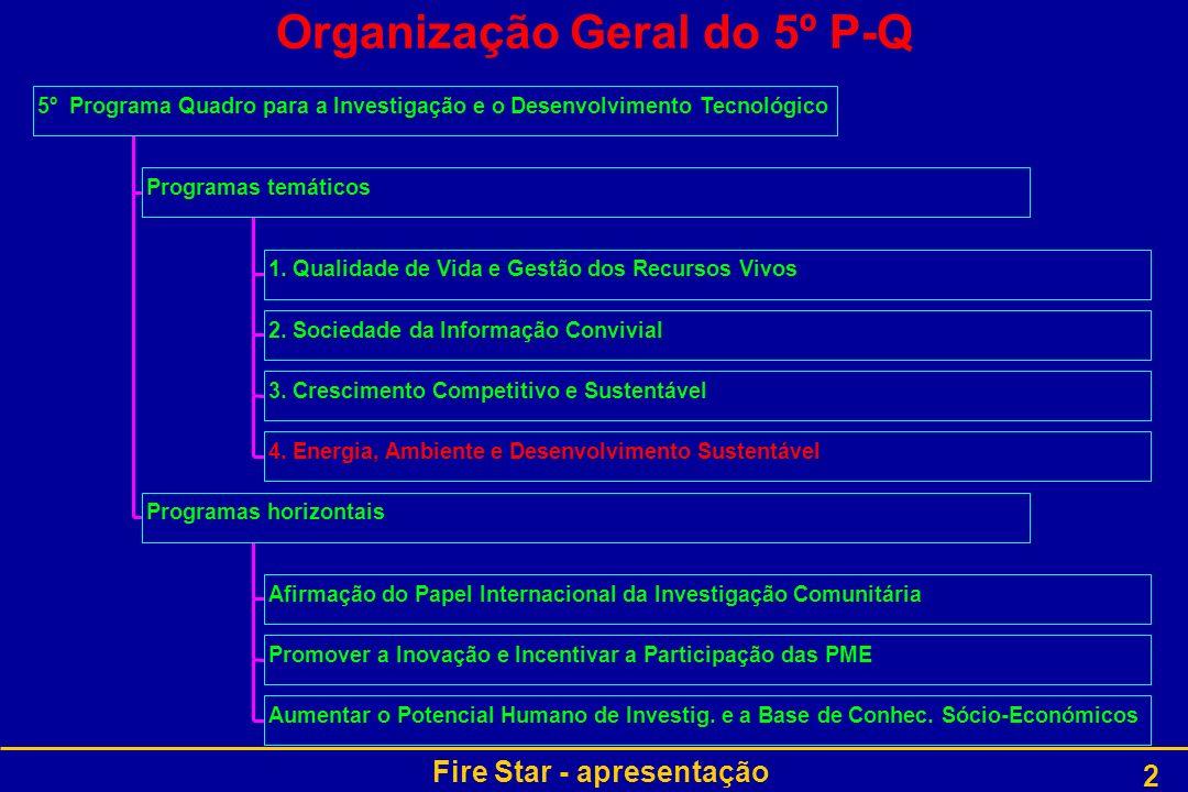 Fire Star - apresentação 2 Organização Geral do 5º P-Q 1. Qualidade de Vida e Gestão dos Recursos Vivos 2. Sociedade da Informação Convivial 3. Cresci