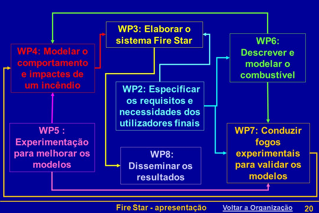 Fire Star - apresentação 20 WP2: Especificar os requisitos e necessidades dos utilizadores finais WP6: Descrever e modelar o combustível WP5 : Experim