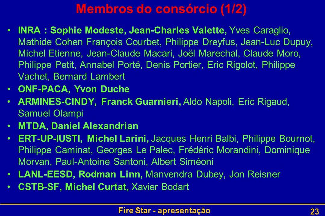 Fire Star - apresentação 23 Membros do consórcio (1/2) INRA : Sophie Modeste, Jean-Charles Valette, Yves Caraglio, Mathide Cohen François Courbet, Phi