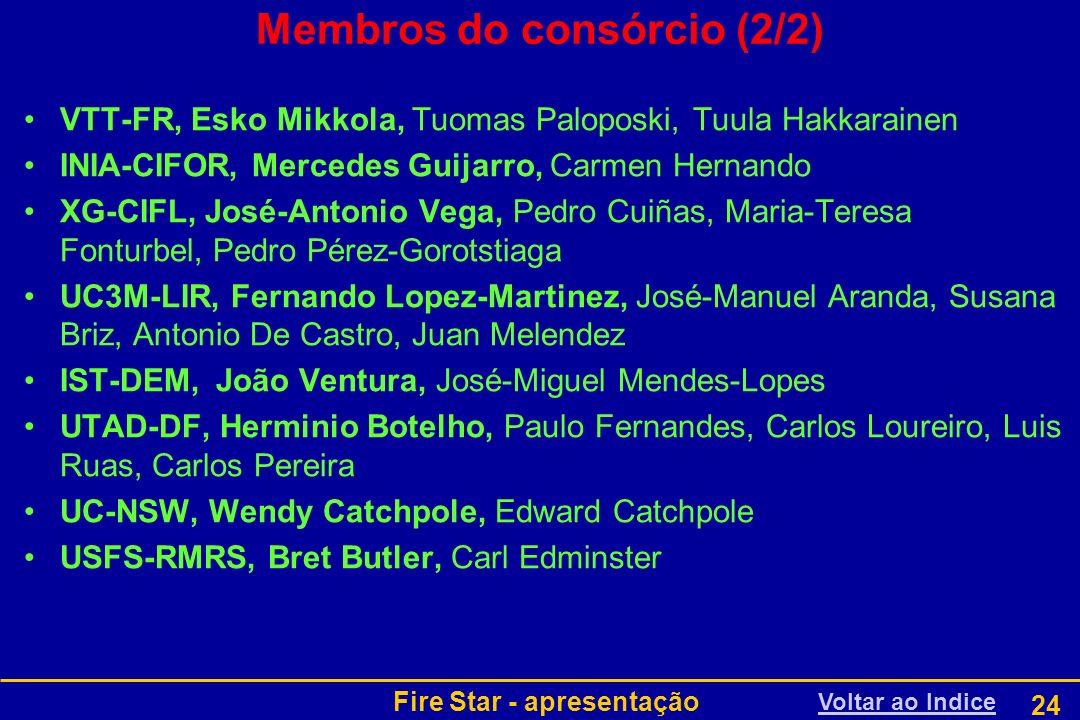Fire Star - apresentação 24 Membros do consórcio (2/2) VTT-FR, Esko Mikkola, Tuomas Paloposki, Tuula Hakkarainen INIA-CIFOR, Mercedes Guijarro, Carmen