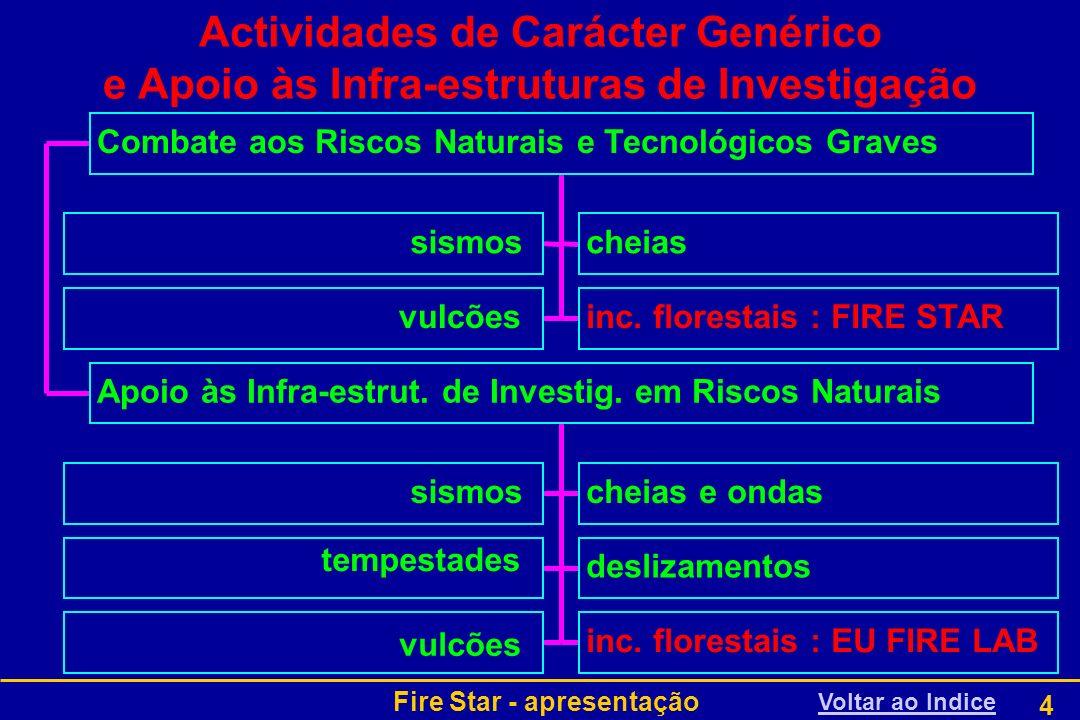 Fire Star - apresentação 4 Actividades de Carácter Genérico e Apoio às Infra-estruturas de Investigação Voltar ao Indice sismoscheias vulcõesinc. flor
