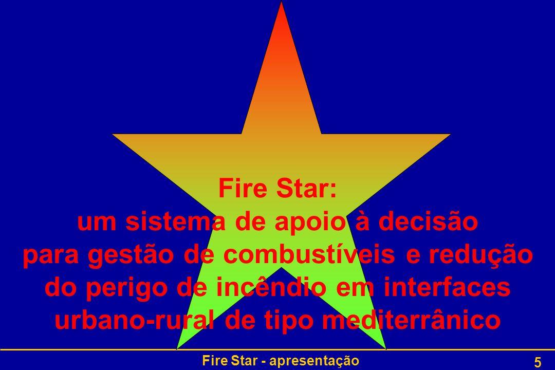 Fire Star - apresentação 6 Análise das necessidades dos utilizadores finais Descrição e modelação do combustível florestal Projecto e desenvolvimento do sistema Fire Star Validação e uso do sistema pelos utilizadores finais Modelação do comportamento e dos efeitos do fogo florestal